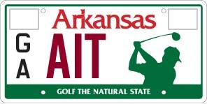Help Support Arkansas Junior Golf, license plate