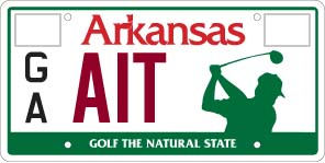 Help Support Arkansas Junior Golf, license plate